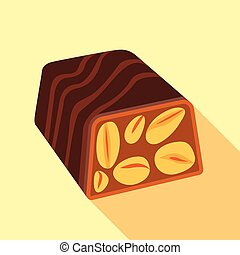 Nut candy icon, flat style