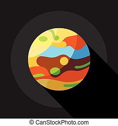 Multicolored planet icon, flat style - Multicolored planet...