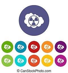 Cloud and radioactive sign set icons in different colors...