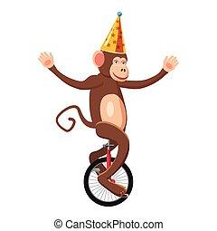 Circus monkey icon, cartoon style