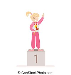 The girl took first place in sports. Award Ceremony Gold Medal winner. Flat character isolated on white background. Vector, illustration EPS10.