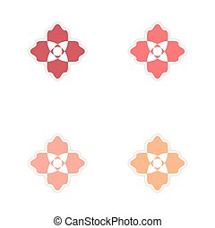 Concept of paper stickers on white background flower...