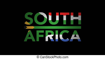 Zooming text South Africa with flag - Zooming in on text...