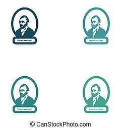 Set of paper stickers on white background Vincent Van Gogh