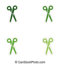 Set of paper stickers on white background scissors
