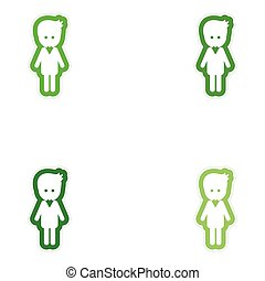 Set of paper stickers on white background groom young