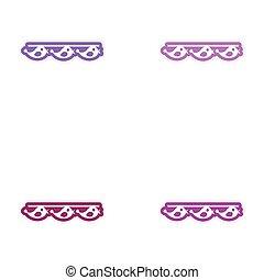 Set of paper stickers on white background garland birds