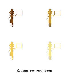 Concept paper stickers on white background woman teacher