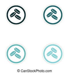 concept stylish paper sticker on white background coins