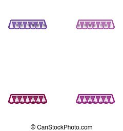 Set of paper stickers on white background festive garland