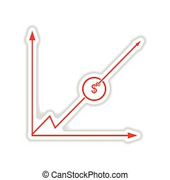 paper sticker on white background  economic graph