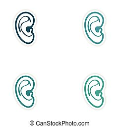 Set of paper stickers on white background human ear