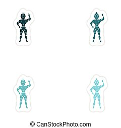 concept stylish paper sticker on white background carnival...