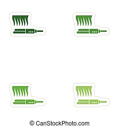 Set of paper stickers on white background hair iron