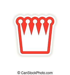 paper sticker British crown on white background