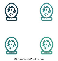 Set of paper stickers on white background Albert Einstein