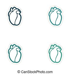 Set of paper stickers on white background human heart