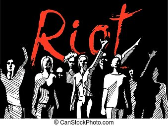 Revolution-riot crowd - Vector illustration of a crowd of...