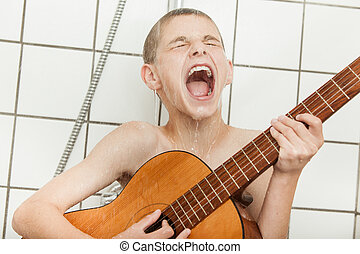 Loud child singing and playing guitar in shower