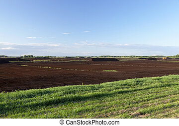 peat bog, summer - the industrial area where mining is...