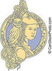 Athena with Owl on Shoulder Circuit Circle Mono Line - Mono...