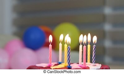 Birthday cake and candles 1920 x 1080p HD video