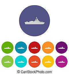 Navire guerre, ensemble, icônes