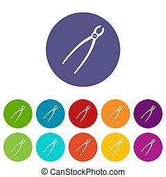 Tooth extraction instrument set icons in different colors...