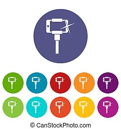 Smartphone on selfie stick set icons