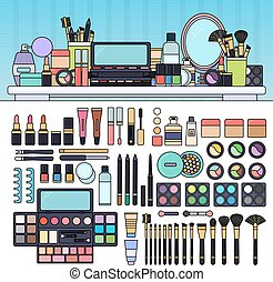 Make up kit in the beauty store