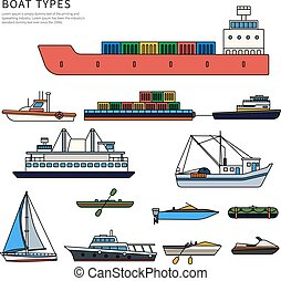 Boats and shipson white - Boats and ships types. Military...