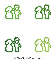 Set of paper stickers on white background bride groom dancing