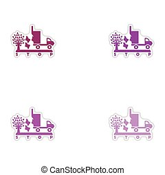 Set of paper stickers on white background garbage truck tree