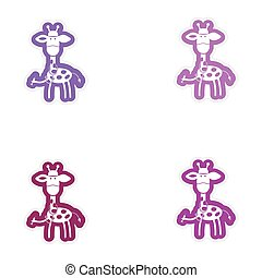 Set of paper stickers on white background giraffe doctor