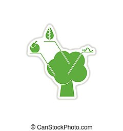 paper sticker on white background tree infographics