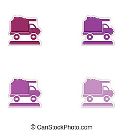 Set of paper stickers on white background garbage truck