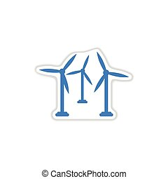 paper sticker on white background wind mill - paper sticker...