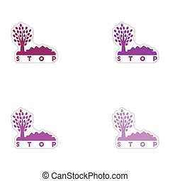 Set of paper stickers on white background stop environmental...