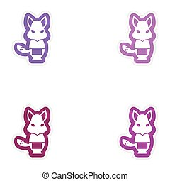 Set of paper stickers on white background fox masseur