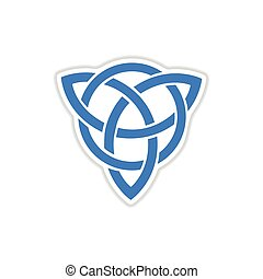 paper sticker on white background celtic symbol - paper...
