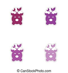 Set of paper stickers on white background eco pig - Set of...