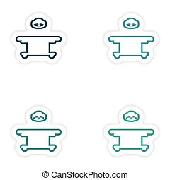 Set paper stickers on white background operating table