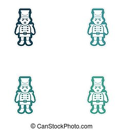 Set of paper stickers on white background Christmas...