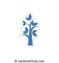 paper sticker on white background tree