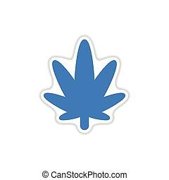 paper sticker on white background cannabis