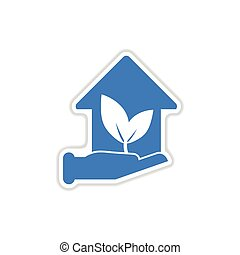 paper sticker on white background Eco-house