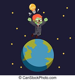 zombie businessman jumping on earth