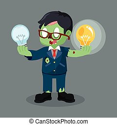 zombie businessman holding functional bulb and unfunctional bulb