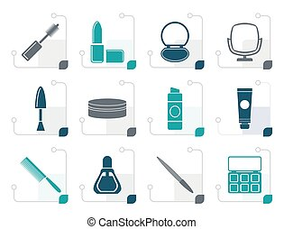 Stylized cosmetic and make up icons