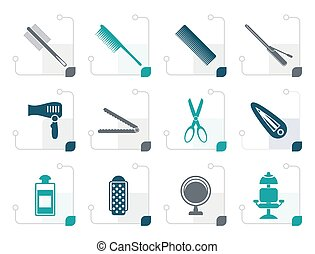 Stylized hairdressing, coiffure and make-up icons- vector...